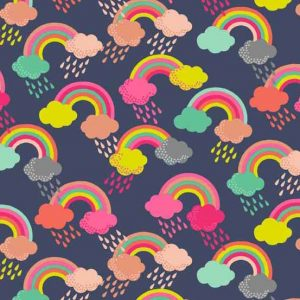 Andover Fantasy Blue Rainbow Fabric