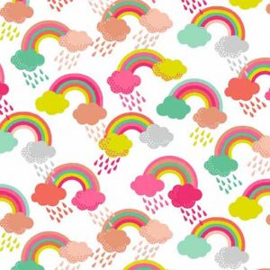Andover Fantasy White Rainbow Fabric