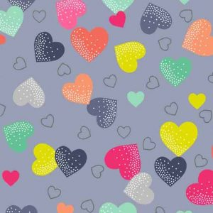 Andover Fantasy Grey Hearts Fabric