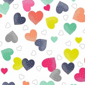 Andover Fantasy White Hearts Fabric