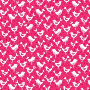 Andover Fantasy Pink Birds Fabric